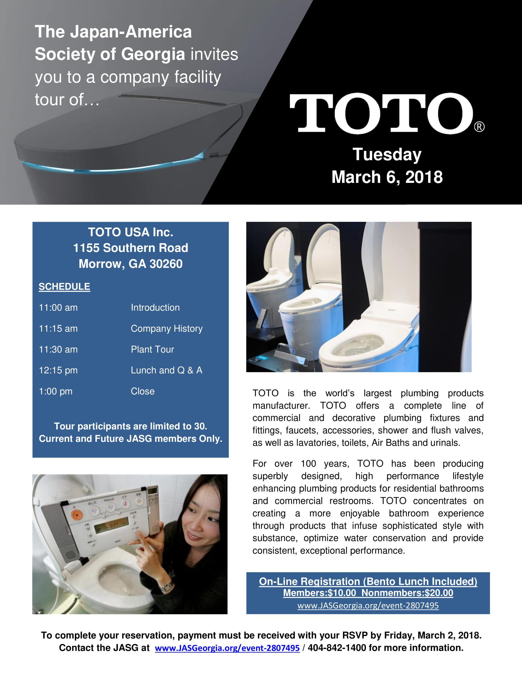The Japan-America Society of Georgia - Tour of TOTO USA